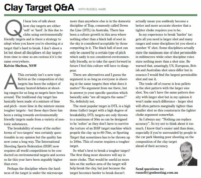 Clay Target Q&A with Russell Mark